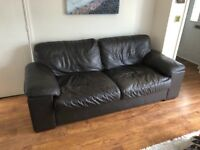 Harvey's Brown Leather Sofa and Chair