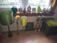 Green/gold ornaments and textiles for sale