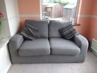 Brown 2 seater standard back sofa
