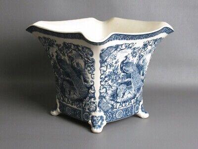 Vintage Vase Cashe Pot Ceramics Decorated with Shapes Blue Period Xx Century