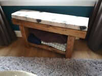 Solid Wooden Bench with Shelf and Peacock Feather Cushion
