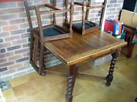 Old Oak dining table and two chairs - 1930's