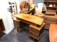 Dressing Table with Twin Tilt and Swivel Mirrors. Retro Vintage Mid Century