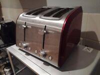 Red/Chrome 4 slice toaster