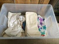 Cloth nappies x15 and boosters
