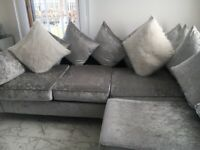 Velvet sofa and matching cuddle chair