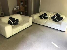 100% leather off white 3 and 2 seater.