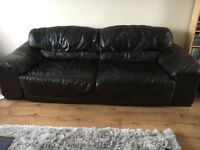 DFS brown leather sofa 4 seater