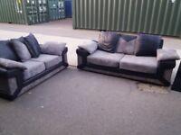 Black and grey 3&2 sofas