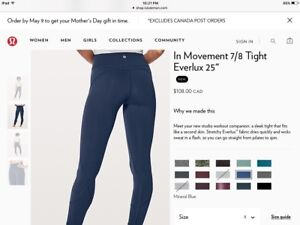 Lululemon In Movement 7/8 Tight, Mineral Blue, Size 8, Brand New