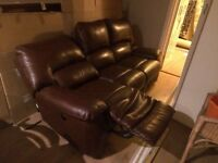 3 seater brown leather La-Z-Boy (lazy boy) sofa. Electric recliner at both ends. A few marks/scuffs