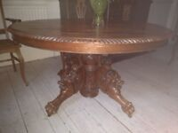 Antique French Round Dining Table Dragon Legs Hunt Carved Wood 60''