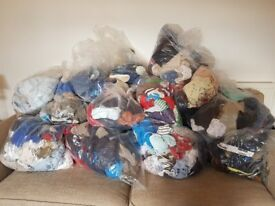 13 bags of boys toddler clothes including shoes and two grobags