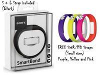 Sony Smartband SWR-10 Black + 3x extra SWR110 Straps/ NFC/ Bluetooth
