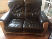 Brown leather solid wood 2 seater sofa settee