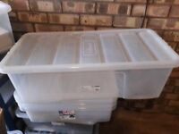 Large plastic storage box with lid