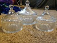 3 vintage glass jars