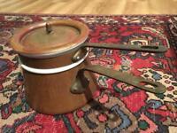 Vintage Apilco France double boiler set, porcelain and copper