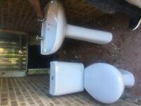 White Toilet, Pedestal Basin and Mixer Tap