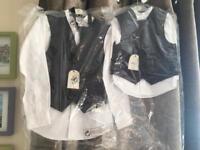Boys black waistcoat white shirt & purple cravat set page boy!