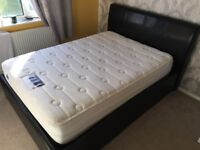 Double Ottoman Leather Flux Bed and 1400 Pocket Silentnight Mattress