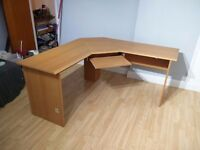 CORNER SHAPED STUDY DESK + KEYBOARD SHELF **GOOD CONDITION** NEED A QUICK SALE