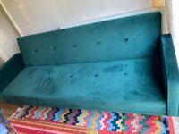 MADE Chou Click Clack Sofa Bed, Velvet Pine Green