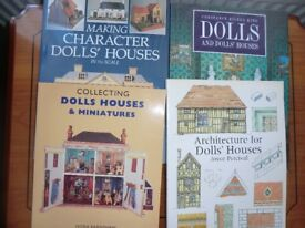 four dolls houses and dolls houses furniture books