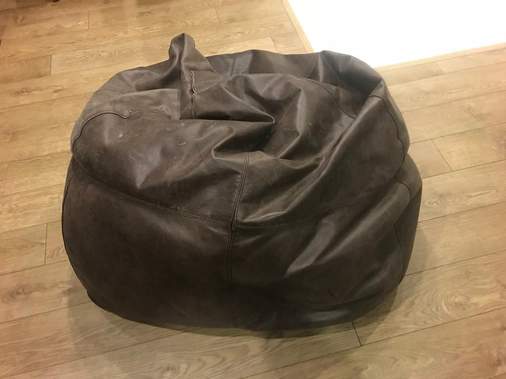 Stupendous Large Brown Leather Bean Bag In Greenwich London Gumtree Forskolin Free Trial Chair Design Images Forskolin Free Trialorg