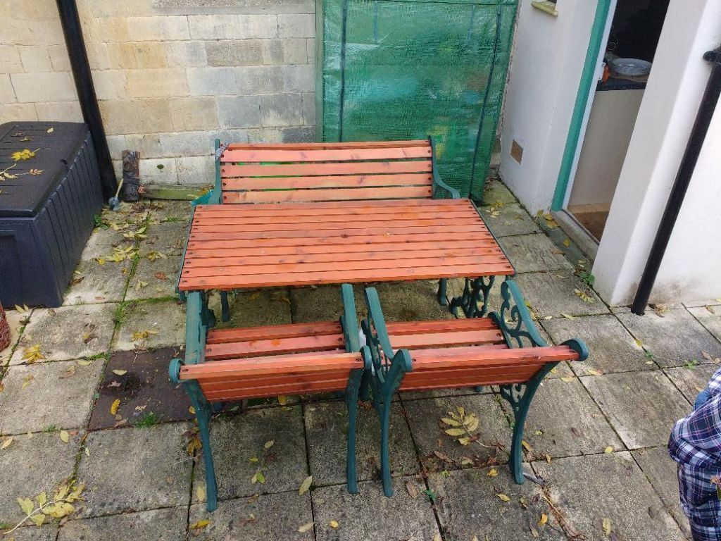 Iron And Wood Patio Furniture cast iron / wood garden furniture set | in tewkesbury