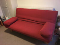 Lovely Solid Oak 3 seater sofa bed by Futon Company! High quality, contemporary