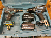 Makita DHP482 Drill and DTD152 Driver with 2 3ah batteries and case.