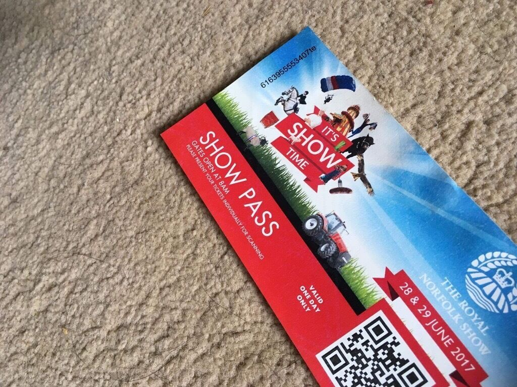 Norfolk show ticketin Melton Constable, NorfolkGumtree - Show ticket can be used either day, collection from Edgefield. Selling as I was then given a free ticket