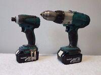 NO OFFERS!!! MAKITA DTD146 18v LXT LI-ION impact driver & BHP451, 3 speed combi drill (2x 3ah batts)