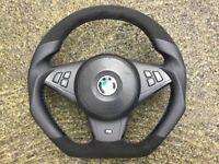 BMW M5 M6 E60 E61 E63 E64 PRE LCI M SPORT NEW CUSTOM MADE FLAT BOTTOM STEERING WHEEL Trade in 280