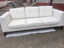 White 3 Seater Italian Leather Sofa