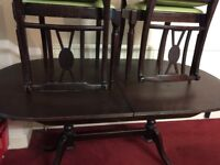 Old vintage dining table and six chair