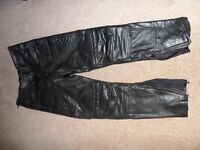 Leather Motorbike Trousers, Mens, Black, Size 32""
