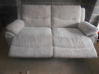 Electric reclining sofa in cream cord. Delivery possible