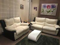 SCS white leather sofa set