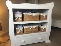 Baby Changing Unit with wicker storage & matching wardrobe