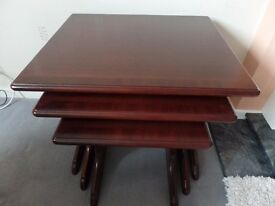 Nest of 3 mahogany tables in excellent condition