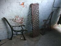 Cast iron garden bench ends with cast iron lattice back plate £25