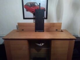 Solid wood TV cabinet with motorized TV stand