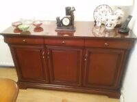 Stag mahogany sideboard with 3 cupboard & 3 drawers complete with glass top