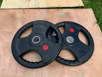 Sale! 2x25kg Olympic iron rubber coated weights plates