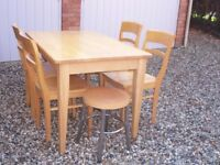 John Lewis Solid Timber Kitchen Table Four Chairs & Two Stools