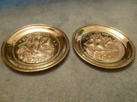 BRASS WALL PLATE GALLEON IN FULL SAIL