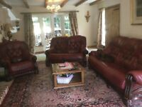 Oxblood 3 piece leather suite 3 seater, 2 Seater ,armchair and footstool