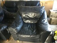 Black Leather sofa and 2 armchairs